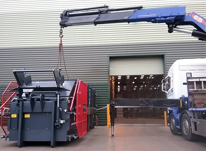 CP30 with Bin Lift Being Positioned