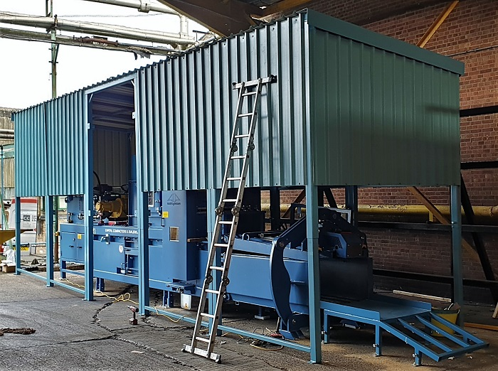 Canopy In Position with Opening for Conveyor Feed